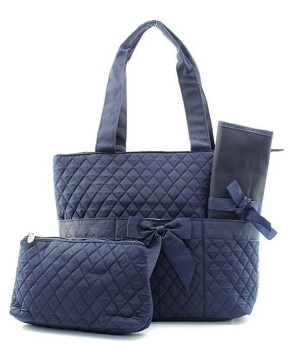solid black navy quilted diaper bag by atltrends on etsy. Black Bedroom Furniture Sets. Home Design Ideas