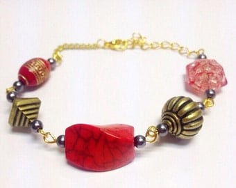 Mixed Bead Bracelet | Red Tones | By Lilly Rose