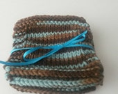 Hand Knit Coasters, Blues and Browns, Set of 4, Vareigated Color Coaster, Knit Coasters, Glassware Decor, Student Gift, Housewarming Gift