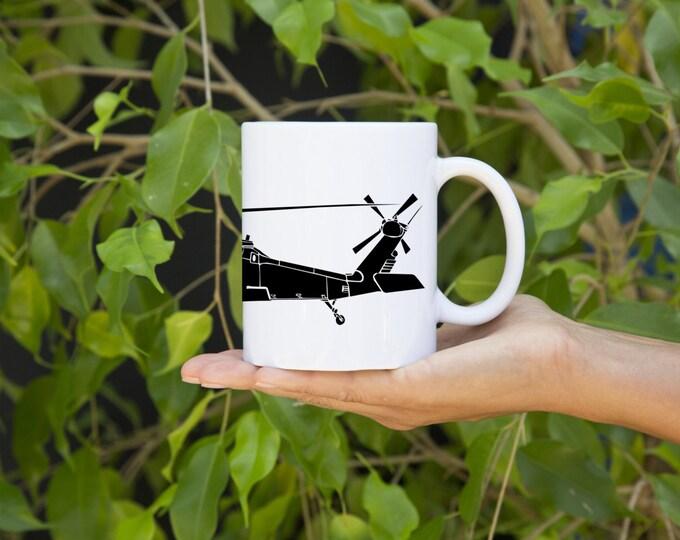 KillerBeeMoto:  U.S. Made Coffee Mug Sikorsky UH-60 Black Hawk Helicopter Mug (White)