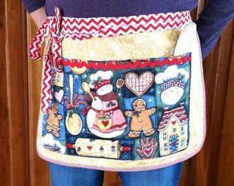 Gingerbread Christmas Women's Half Apron with Pockets, Vendor Utility Craft Apron, Bakery Apron