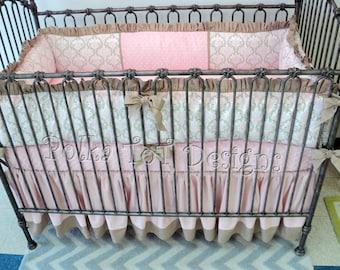 Damask Baby Bedding Pink & Taupe: Juliette
