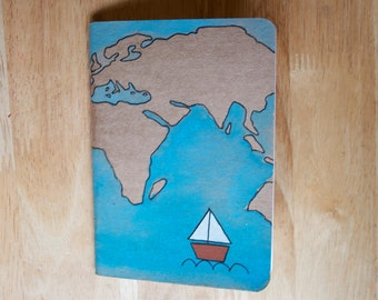 A6 Hand painted travel journal / sketchbook / notebook - recycled paper