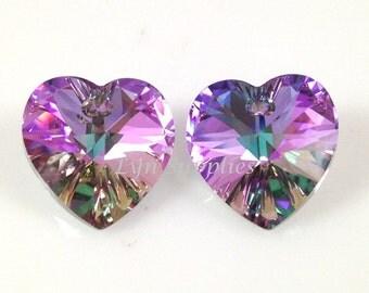 14.4x14mm Swarovski Crystal Heart 6228 VITRAIL LIGHT 2pcs or 8pcs Love Valentines Day Pendant Necklace