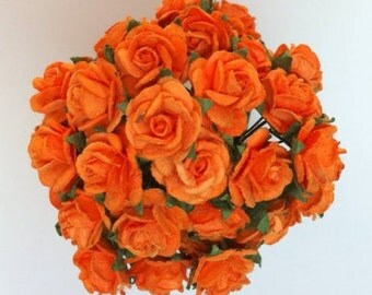 50 Orange Mulberry Paper Roses 15mm (1.5cm)