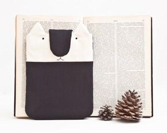 Black iPad Mini Case, Kindle Sleeve, iPad case, Cat eBook Cover, iPad Mini Sleeve, Black Cat kindle fire HD 6 case, Kindle Paperwhite sleeve
