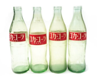 """VINTAGE 1960's , Lovely One bottle"""" Coca Cola """" Glass Bottls 32 oz / 1 Liter , Green with Red and White , Display , Collectible , Vase"""