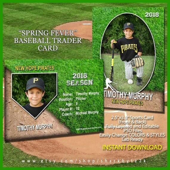 baseball sports trader card template for photoshop spring. Black Bedroom Furniture Sets. Home Design Ideas