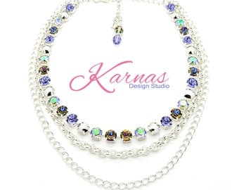TANZANITE RUSH 8MM Crystal Chaton Chain Necklace Made With Swarovski Elements *Pick Your Finish *Karnas Design Studio *Free Shipping*