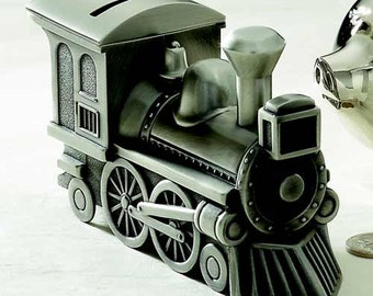 Train piggy bank etsy baby gift train bank pewter or bright finish personalized with engraving negle Gallery