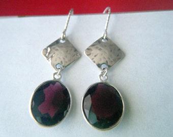 Garnet, hammered sterling silver earrings Marsala jewelry Natural garnet earrings Garnet gemstone jewelry Diamond cut jewelry Chakra jewelry
