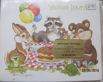Vintage Current  Langford Birthday Buddies Animals Party Invitation Cards New Old Stock Paper Ephemera