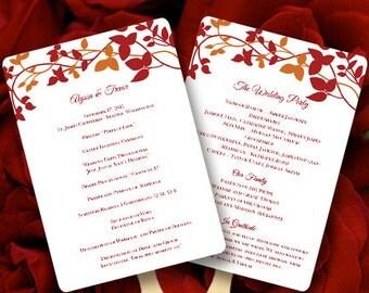 Fan Wedding Programs Forever Entwined Red Orange Make Your Own Program Fans Edit