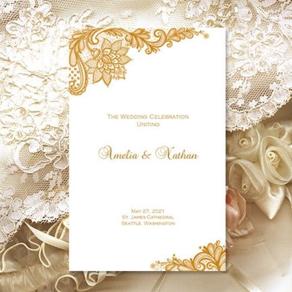 "Wedding Program Template ""Vintage Lace"" Gold Ceremony Order of Service ..."