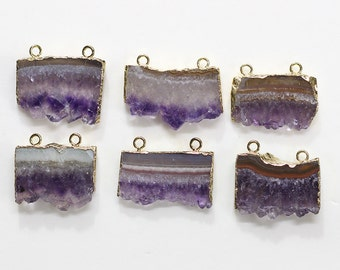 Double Bail Amethyst Druzy Slice Pendants -- With Electroplated Gold Edge Charms Wholesale Supplies YHA-021
