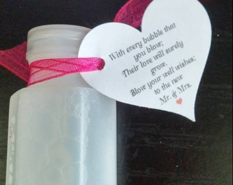 Wedding Bubbles Favor Stationery Tag Blow Wishes To The New Mr Mrs Heart Shape White Cream Kraft