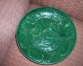 all 5 reserved for ashley  Old   Majolica Plate  Green Grape  Leaf  Leaves  Excellent Shape
