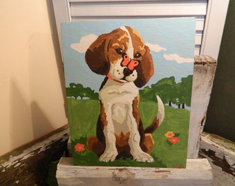 Vintage Paint By Number Dog With Butterfly on His Nose