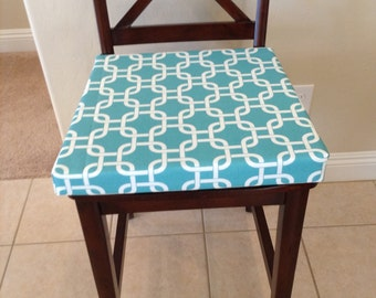 Captivating Teal And White Geometric Fabric Custom Chair Cushion Cover. Washable  Removable