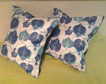 Blue & White Cotton Sateen  Leaves Pillow Covers,Decorative Pillow Covers  Set  Of 2 16''x 16'.Throw Pillows %100 Cotton Pillow Covers.