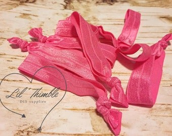 10 hair ties bright pink 5/8 inch fold over elastic birthday party favor ponytail holder cheer goodie bag wedding bridal baby shower