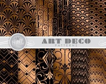 "ART DECO Black & Bronze Digital Paper Pack 12"" x 12"" Pattern Prints, Instant Download, Retro Patterns Backgrounds Print"