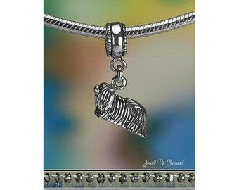 Sterling Silver Pekingese Charm or European Style Charm Bracelet .925