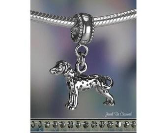 Sterling Silver Dalmatian Charm or European Style Charm Bracelet .925