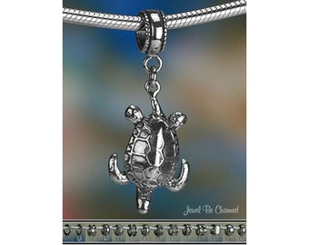 Sterling Silver Sea Turtle Charm or European Style Charm Bracelet .925
