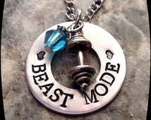 Fitness gift,  BEAST MODE, Exercise Jewelry, Weight Lifting, cross fit, Trainer, Personal Trainer, HandStamped Jewelry