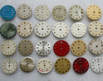 Set of 24 Vintage Soviet  Watch Faces  , steampunk, steampunk parts