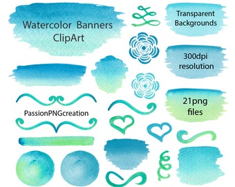 Watercolor Banners, Stripes, Watercolor Clipart, Elements, hand painted, Watercolour, Watercolor Elements, Personal and Commercial Use