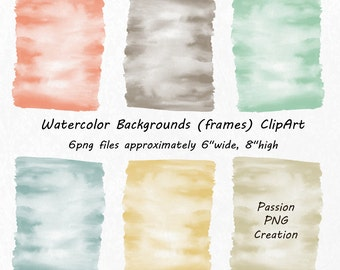Watercolor Backgrounds, Watercolor frames, banners ,Watercolor Clipart, hand painted, PNG, Watercolour, Personal and Commercial Use