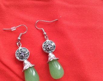 Green flower dangle earrings