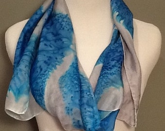 Hand painted 100% silk scarf,  gray and blue abstract , salt effect,  made to  order