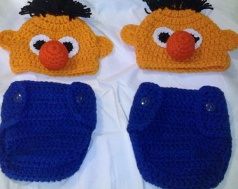 Crochet Ernie diaper set, newborn diaper set, photo prop, sesame street inspired photo prop, crochet hat, diaper cover, newborn Ernie hat