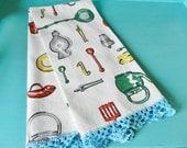Retro Towel, Print Kitchen Towel,  Crochet Trim Towel, Utensil Towel, Turquoise Towel, Vintage Towel, Red Towel
