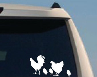 Chicken Family, Rooster, Hen, chicks Decals - indoor-outdoor decal