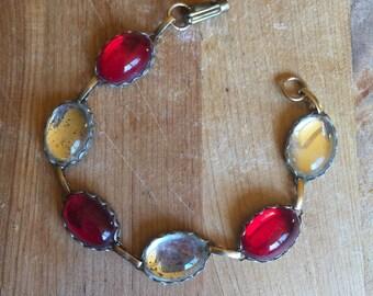vintage 1960s bracelet // 60s red glass bracelet