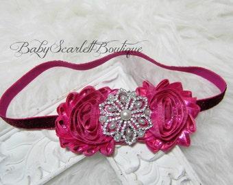 Metallic Pink  Flower Baby Headband,Girl Headband