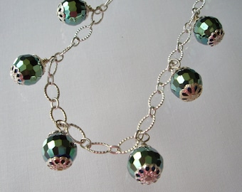 Faceted Czech Fire Polished Crystal Necklace on Silver Chain