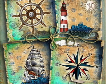 Nautical images Printable Collage for Coasters Greeting Cards Magnets Gift tags 4 Printable Cards Clip Art 4x4 inch Square Background o29