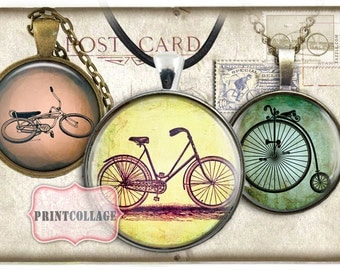 Bicycle images Digital Printable Sheets Cabochon images 1.5 inch, 1 inch, 18 mm, 14 mm round images Printable images Instant download c39