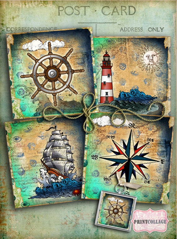 Nautical Images Printable Collage For Coasters Greeting Cards