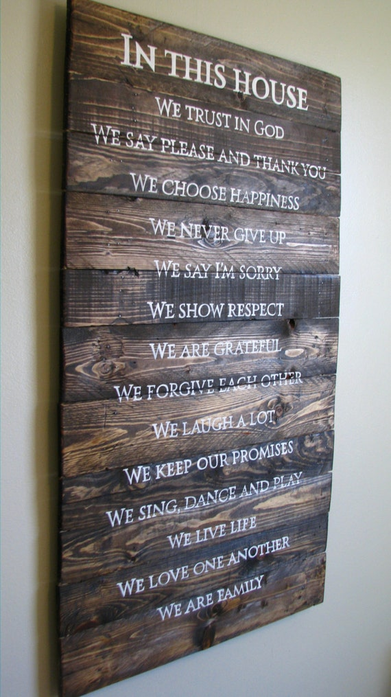 Family Rules Sign Hand Painted On Rustic Pallet Wood