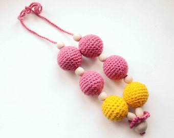 Nursing necklace / Teething necklace - Natural eco-friendly - Yellow-pink colors