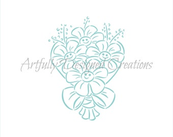 Drawn with Character - Smiling Flowers Stencil