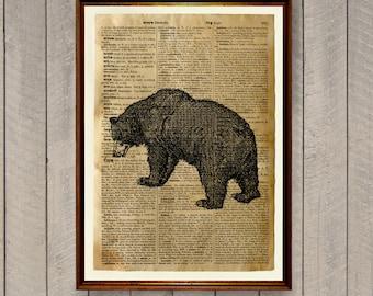Lodge decor Bear poster Animal art print WA684