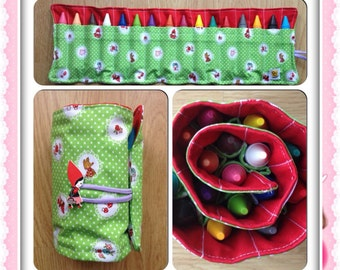 Fabric Crayon Roll with jumbo crayons