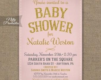 Pink Baby Shower Invitations - Gold Glitter Pink Baby Girl Shower Invites - Vintage Style Girl Baby Shower Invitation